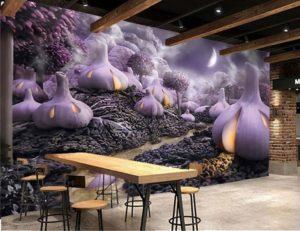 Печать на самоклеющейся плёнке для стен кафе, ресторана