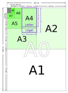 Формат бумаги ватмана А1, А2, А3, А4, А5, А6, А0, 2А0