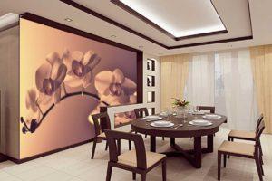 Фотообои на стену кухни - цветы