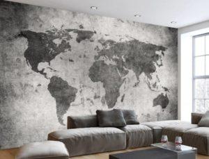 Фотообои на стене - карта мира