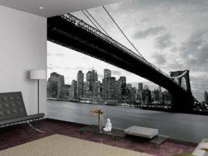 Печать фотообоев мост, природа, карта мира, города, живопись, цветы
