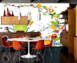 Фотообои на кухню яркие фрукты