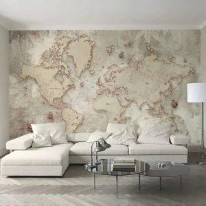 Флизелиновые фотообои карта мира